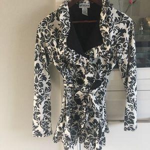 Damask print blazer cardigan jacket XS